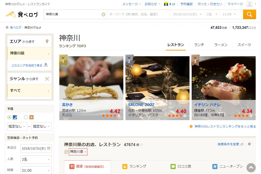 神奈川のお店・レストランの情報